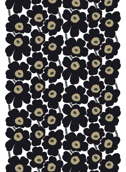 Marimekko 100% Cotton Fabric - Pieni Unikko (White / Black)