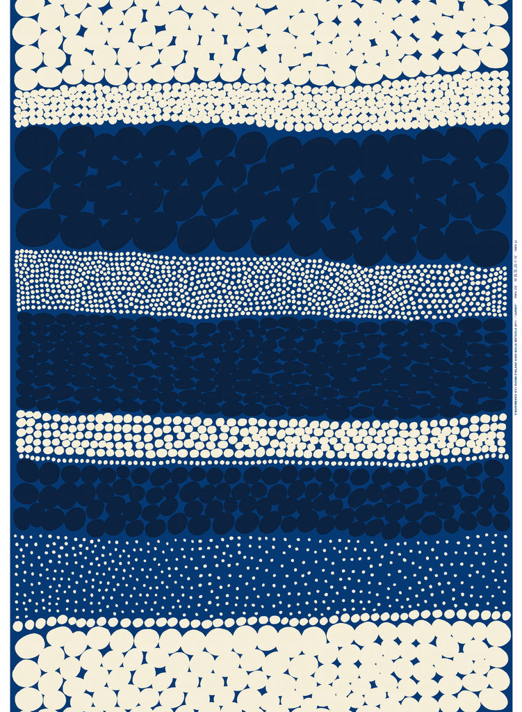 Marimekko 100% Cotton Fabric Jurmo Design (Blue, White, Dark Blue)