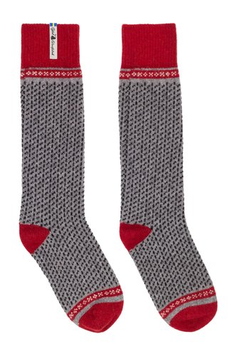 Öjbro Vantfabrik 'Skaftö' Wool Socks - Grey/ Red