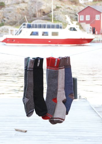 Pre Order Now - Öjbro Vantfabrik 'Skaftö' Wool Socks - Blue / Brown