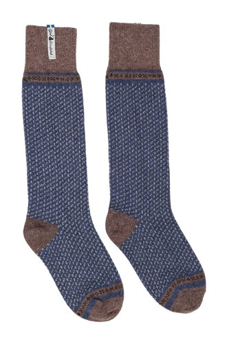 Öjbro Vantfabrik 'Skaftö' Wool Socks - Blue / Brown