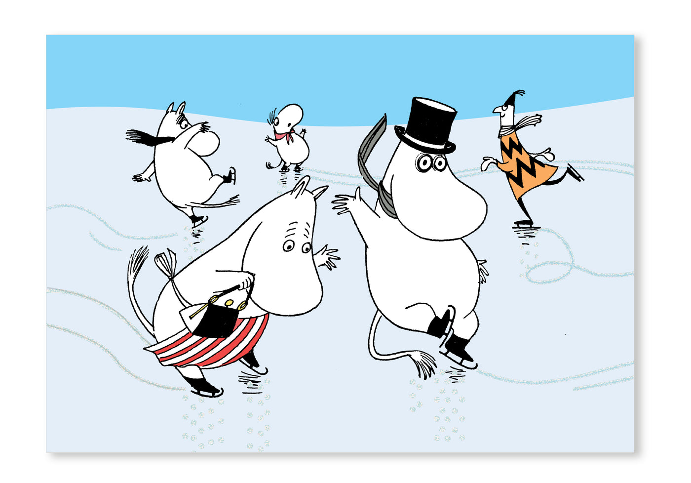 Putinki Press - Christmas 2020 Card Collection - Moomin Family Iceskating Postcard