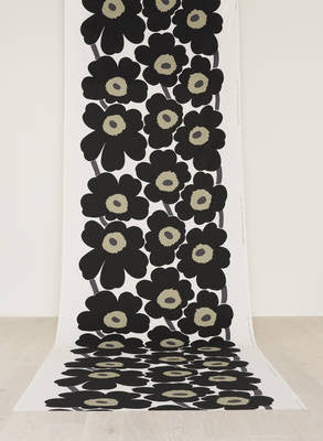 Marimekko 100% Cotton Fabric - Unikko (Poppy) Black / Sand