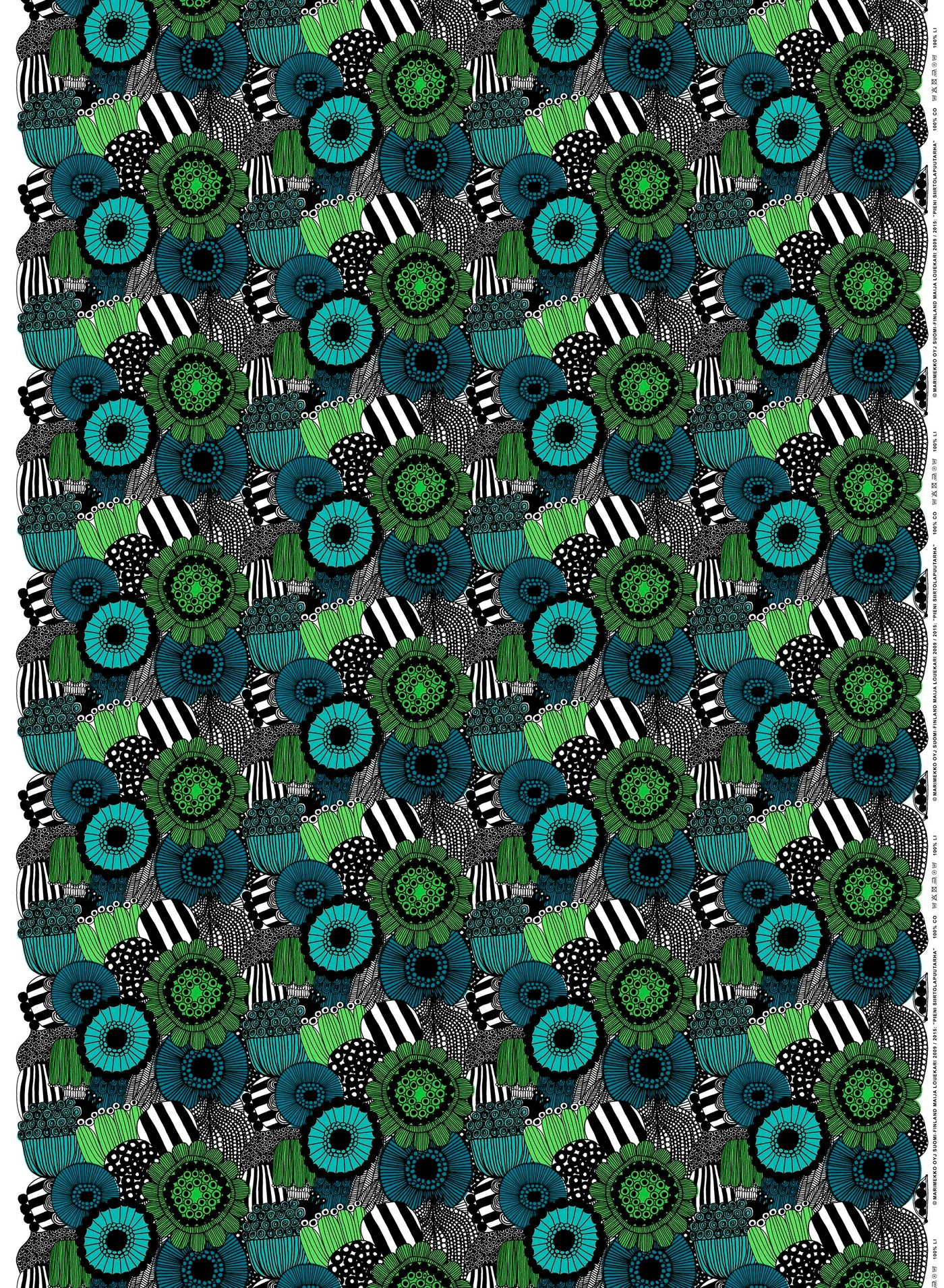 Marimekko 100% Cotton Pieni Siirtolapuutarha Fabric (White, Green, Black)