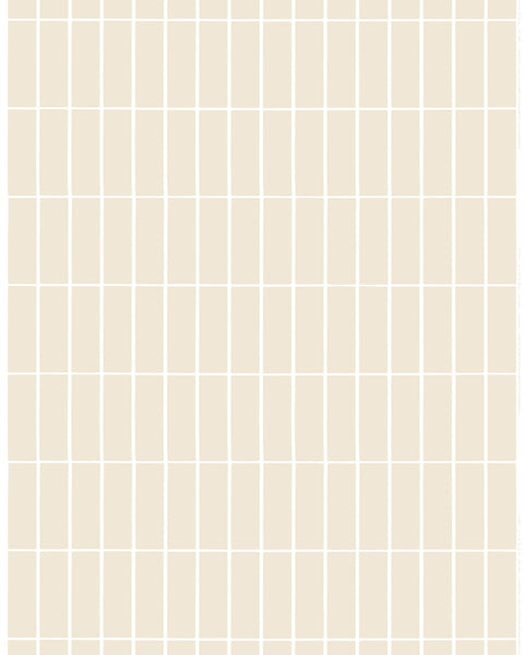 Marimekko 2021 Collection - 100% Linen Fabric - Tiiliskivi - Beige / White