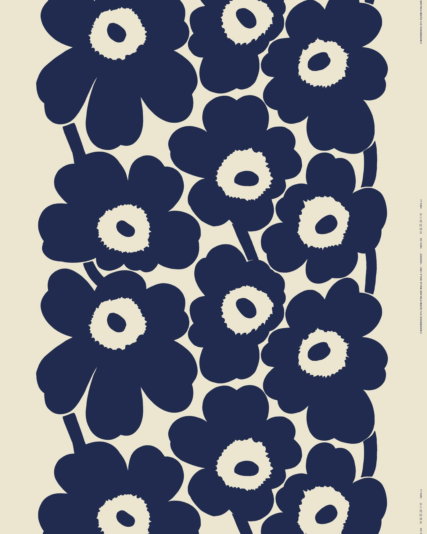 Marimekko Winter 2020 Unikko 100% Linen Fabric - Linen, Dark Blue
