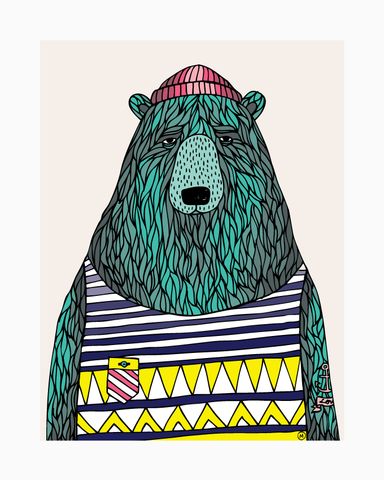 Putinki Press 24 x 30cm Prints - Merikarhu/ Sailor Bear - Designed by Mira Mallius