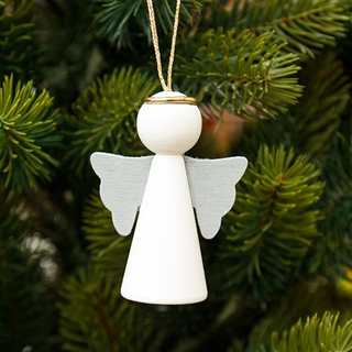 Christmas - Angel with Wings Hanging Decoration - White