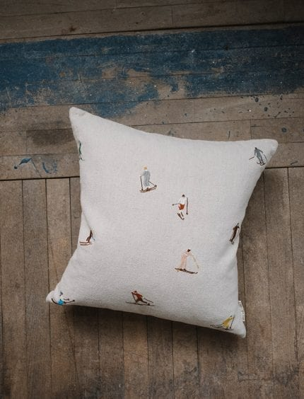 Fine Little Day - Skiiers Embroidered Cushion Cover