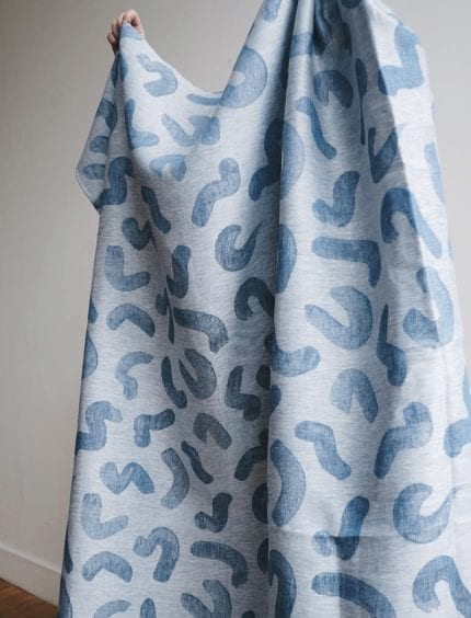 Fine Little Day - 100% Linen Fabric - Udon Blue