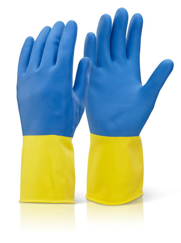 2 COLOUR HEAVYWEIGHT GLOVE YELLOW/BLUE  Pack of 10