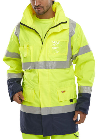 TWO TONE BREATHABLE TRAFFIC JACKET SATURN YELLOW / NAVY XXXXXL