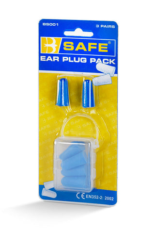 B-SAFE EAR PLUGS 3 PAIR/PACK BLUE