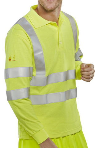FIRE RETARDANT HI-VIS ANTI STATIC POLO LONG SLEEVED SATURN YELLOW