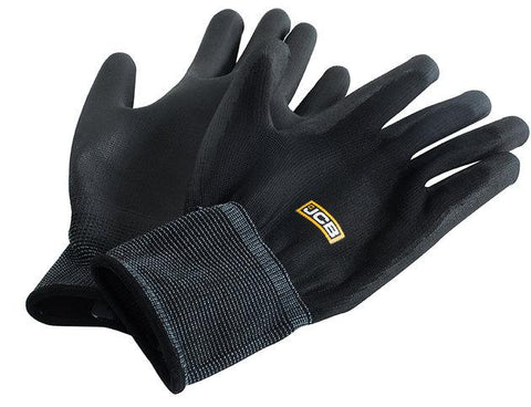 JCB Pu Coated Black Polyester Gloves