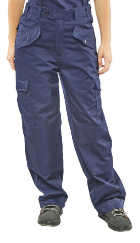 LADIES POLYCOTTON TROUSERS NAVY BLUE