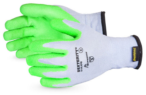 DEXTERITY 10-GAUGE COTTON/POLY KNIT GLOVE WITH HI-VIZ LATEX PALM LINED WITH PUNKBAN LIME GREEN