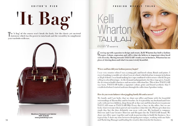 Fashion Weekly September 2014, Gisele - Madison Textured Satchel