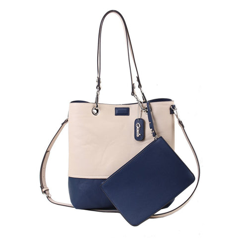 Reversible Tote with Pouch - Blue-Chalk