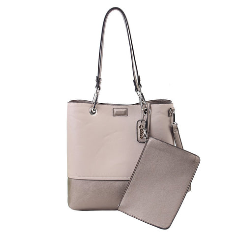 Reversible Tote with Pouch - Bronze-Beige