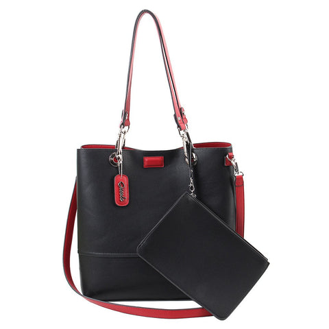 Reversible Tote with Pouch - Scarlet-Black