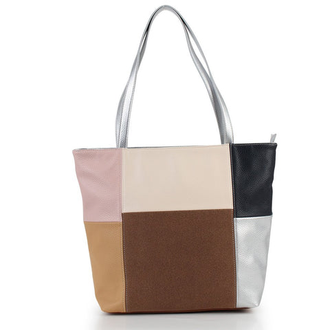 Colourblock Tote with Pouch - Beige Multi