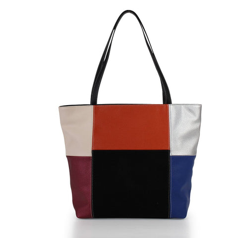 Colourblock Tote with Pouch - Orange Multi
