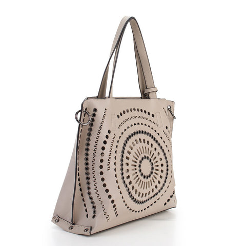 Waverly Laser Cut Tote - Beige