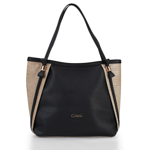 Thea Two-Tone Tote - Black-Beige