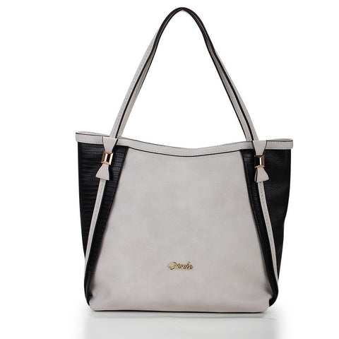 Thea Two-Tone Tote - White-Black