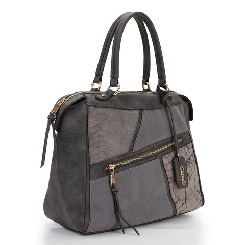 Caitlyn Patchwork Satchel - Grey