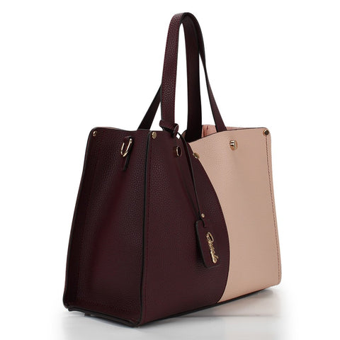 Emily Panel Tote - Burgundy