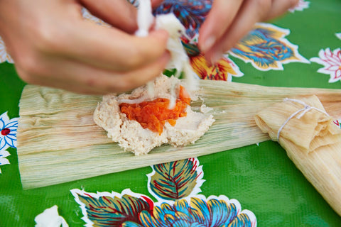 Tamales being made