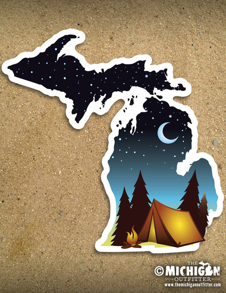 "LARGE 6"" Michigan Sticker - Campsite"