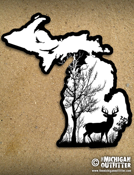 "LARGE 6"" Michigan Sticker - Deer In The Woods"