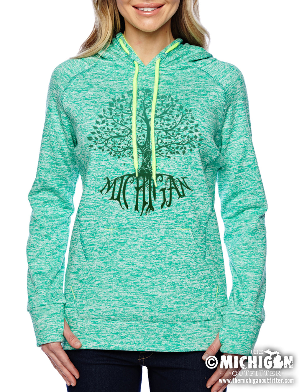 Big Tree Fleece Womens Hoodie - Emerald Green