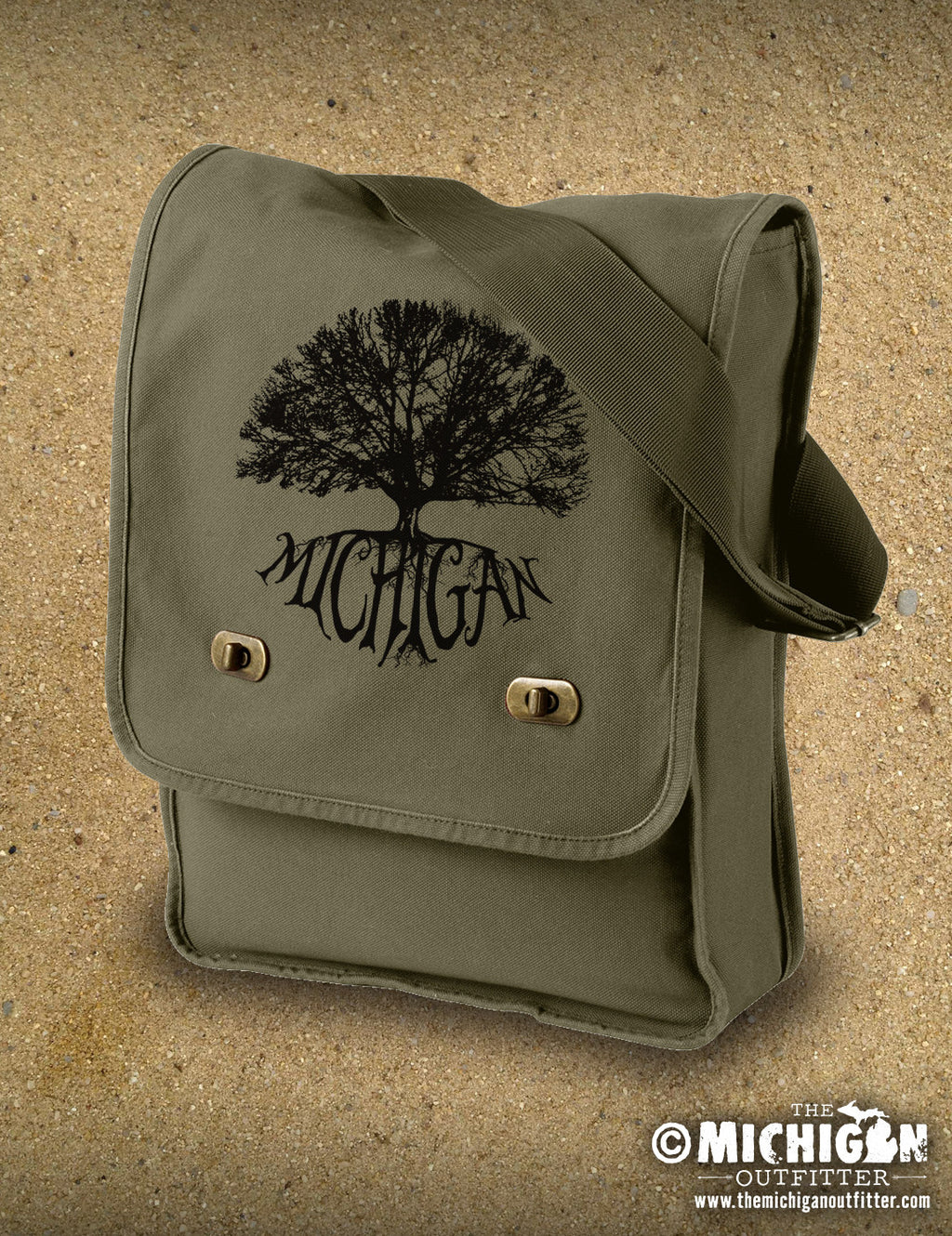 Canvas Field Bag - Michigan Big Tree - Khaki Green