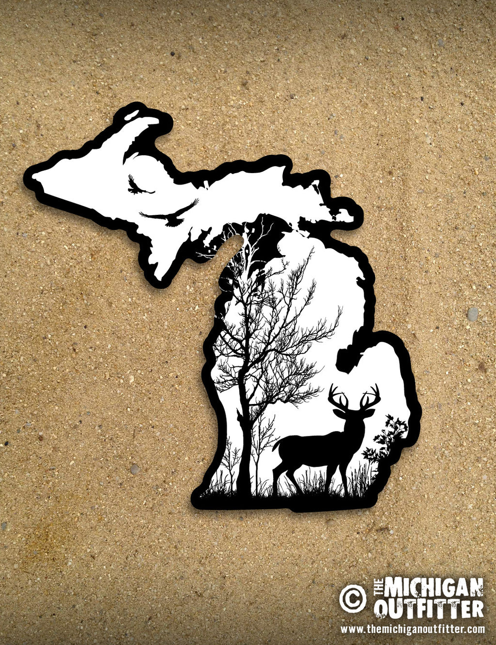 "4"" Michigan Sticker - Deer in the Woods"