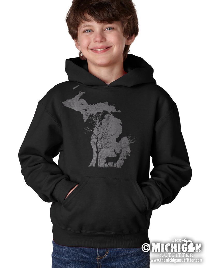 Deer in the Woods - Youth Hoodie - Black