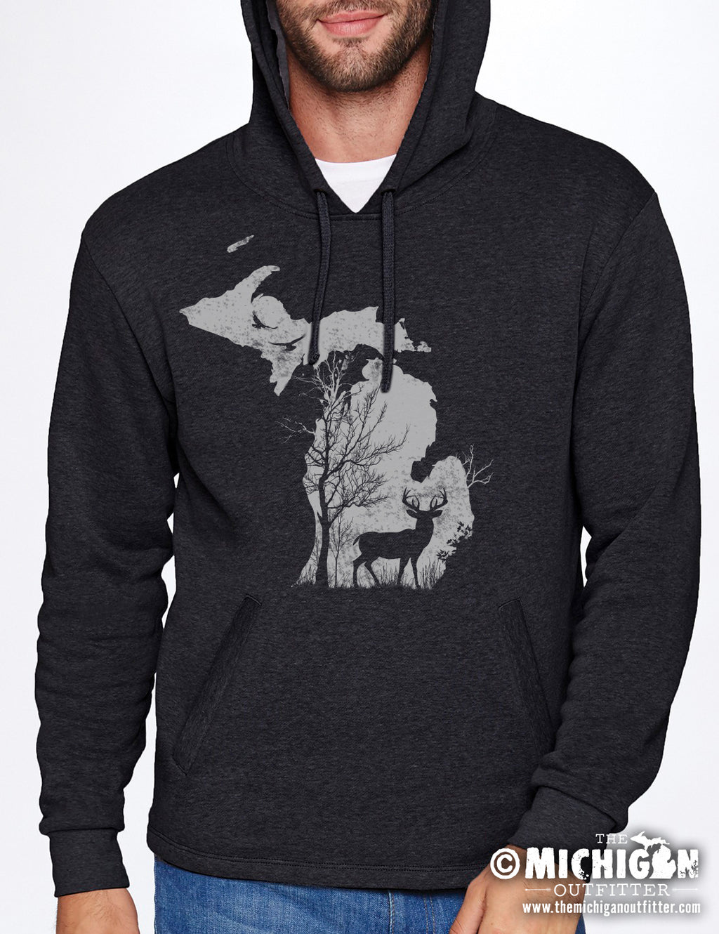 Deer in the Woods - Hoodie - Black