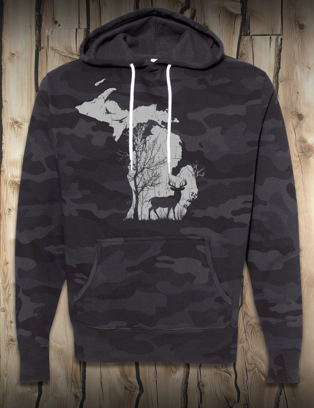 Deer in the Woods - Hoodie - Black Camo