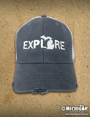 Explore Distressed Trucker Cap - Black and Tan