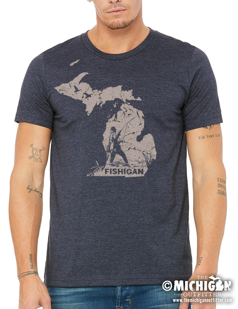 Fishigan - Mens T-Shirt - Heather Navy