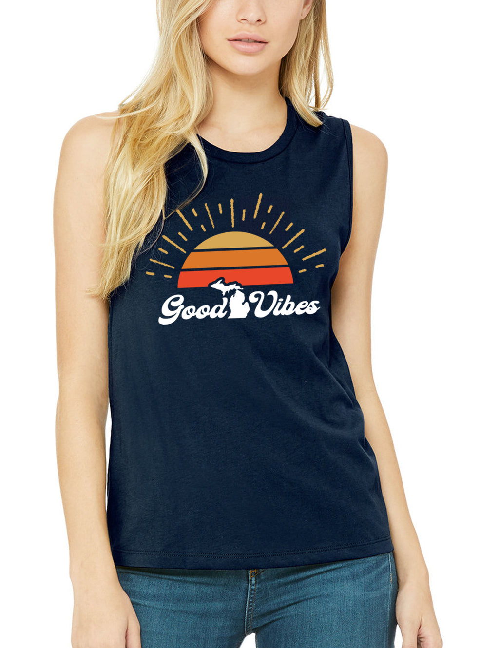 Good Vibes - Women's Muscle Tank - Navy