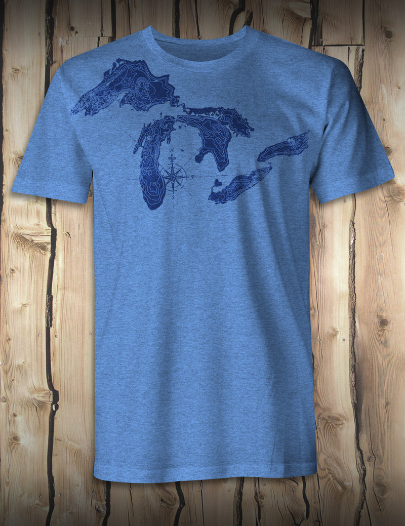 Great Lakes Map - Heather Blue