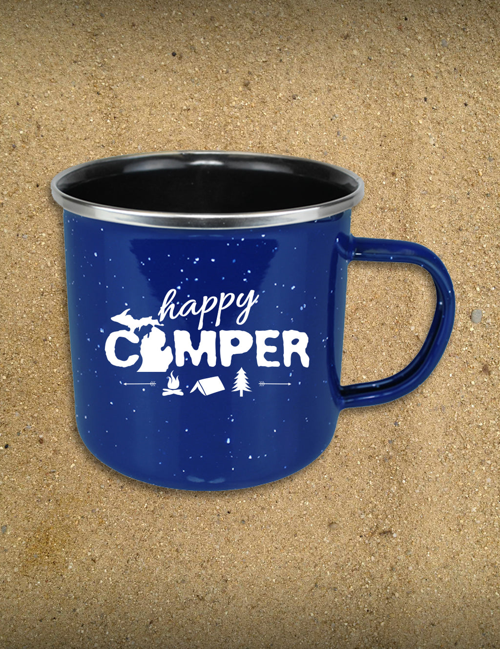 Happy Camper Metal Campfire Mug - Blue