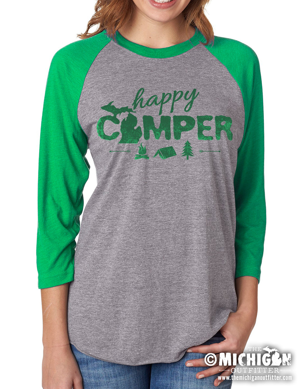 Happy Camper - Unisex 3/4 Sleeve - Heather Gray and Green