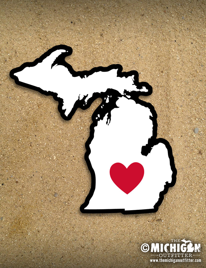 "4"" Michigan Sticker - Heart"