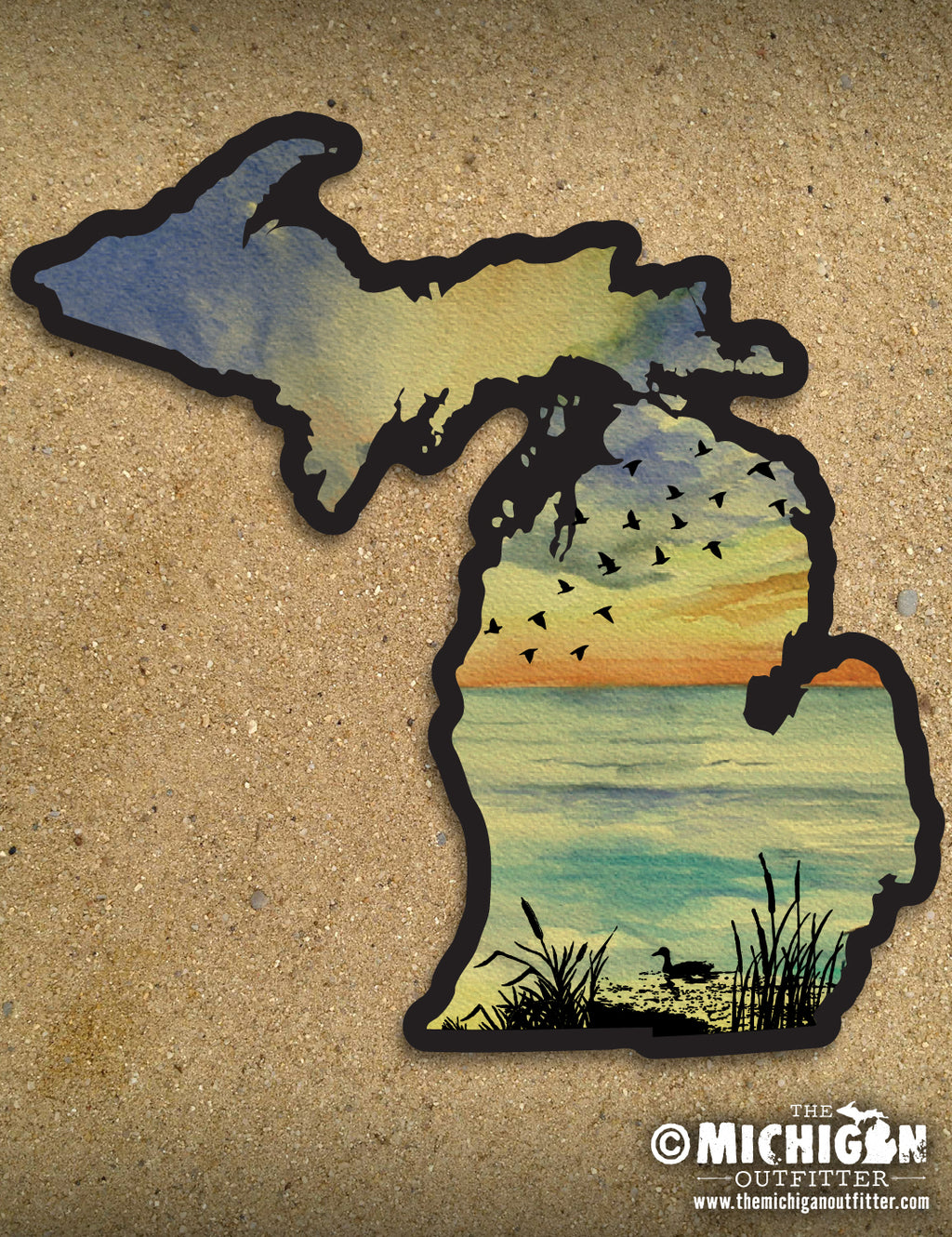 "LARGE 6"" Michigan Sticker - Sunset Birds"