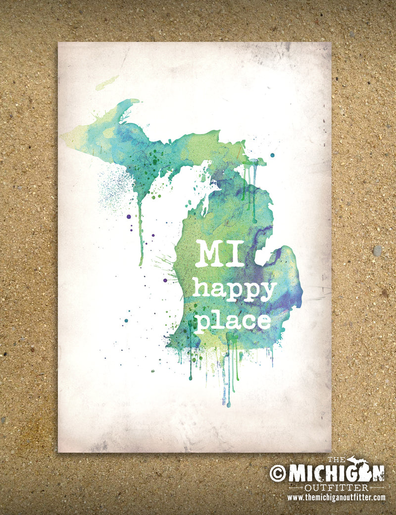Michigan Map Canvas Painting Kit - 11 x 14